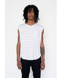 Assembly New York | White Cotton Reverse Terry Muscle Tee - Stripe for Men | Lyst