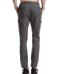 ATM - Gray Stretch Cotton Twill Moto Pants With Cargo Pockets for Men - Lyst
