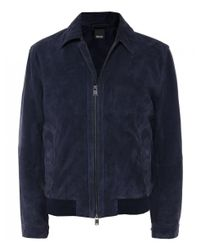 BOSS - Blue Suede Avelan-ws Aviator Jacket for Men - Lyst