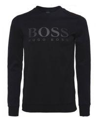BOSS Green - Black Salbo Logo Sweatshirt for Men - Lyst