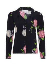 Emily and Fin - Blue Elspeth Dahlia Floral Long Sleeve Blouse - Lyst