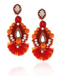 Ranjana Khan | Pink Red Drop Beaded Clip-on Earrings | Lyst