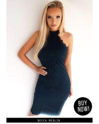 AX Paris | Blue Navy High Neck Lace Midi Dress | Lyst