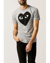 Comme des Garçons | Gray Black Emblem Tee for Men | Lyst