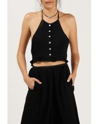 Azalea | Black Button Down Halter Top | Lyst