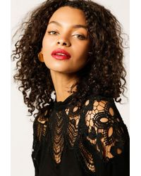 Azalea | Black Lace Detail L/s Top | Lyst