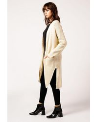 Azalea - Natural Knit Long Cardigan - Lyst