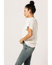 Azalea - White Textured Round Neck Blouse - Lyst