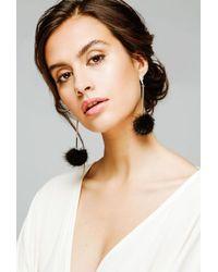 Tuleste - Black Mink Pom Pom Earrings - Lyst