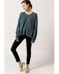 Azalea - Blue Lace Up Sweater - Lyst
