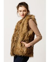 Azalea - Brown Faux Fur Vest - Lyst