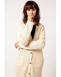 Azalea - Natural Knit Long Cardigan - Lyst