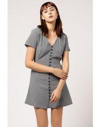 Azalea - Blue V-neck Mini Checkered Dress - Lyst