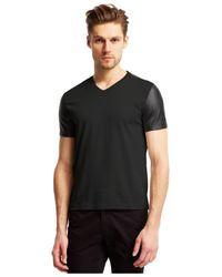 Kenneth Cole Reaction | Black V-neck Faux-leather Sleeved T-shirt for Men | Lyst
