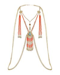 TOPSHOP | Multicolor Orange Beaded Body Chain | Lyst