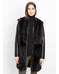 Vince | Black Shearling and Leather Coat  | Lyst