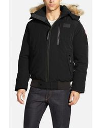 Canada Goose | Black 'borden' Regular Fit Bomber Jacket With Genuine Coyote Trim for Men | Lyst