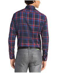 BOSS Green | Blue 'badru' | Regular Fit, Cotton Plaid Button Down Shirt for Men | Lyst