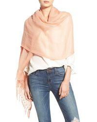 Caslon - Pink Linen Blend Scarf - Coral - Lyst