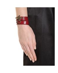 Givenchy Red Obsedia Leather Wrap Bracelet