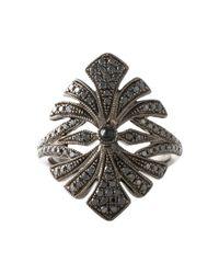Joelle Jewellery - Black 'Antique' Tip Finger Ring - Lyst