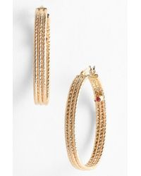 Roberto Coin | Yellow Ribbed Gold Hoop Earrings | Lyst