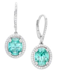 Arabella | Green Mint (9 Ct. T.w.) And White (5/8 Ct. T.w.) Swarovski Zirconia Earrings In Sterling Silver | Lyst