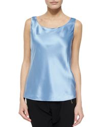 Lafayette 148 New York - Blue Bias Luxe Silk Charmeuse Tank - Lyst
