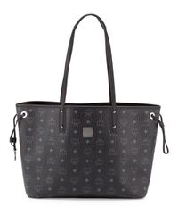 MCM Black Shopper Project Visetos Medium Reversible Shopper Tote Bag