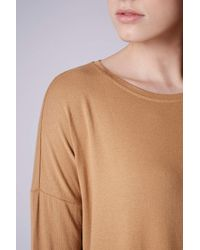TOPSHOP - Brown Tall Longsleeve Crepe Top - Lyst