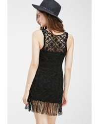 Forever 21 - Black Fringed Macramé Shift Dress - Lyst