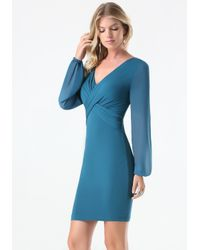 Bebe | Blue Dahlia Sheer Sleeve Dress | Lyst