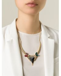 Iosselliani - Metallic 'Geometric Floral' Necklace - Lyst