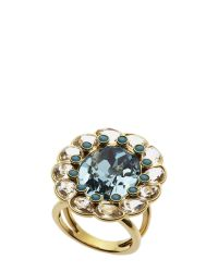Swarovski - Multicolor Gold-Tone & Blue Accented Ring - Lyst