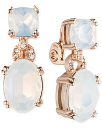 Anne Klein - White Glass Stone And Crystal Clip-on Earrings - Lyst