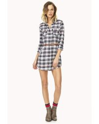 Forever 21 - Natural Laid Back Plaid Shirtdress W/ Belt - Lyst