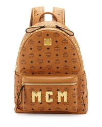 MCM - Brown Mens Studded Logo Backpack for Men - Lyst