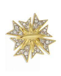 Kenneth Jay Lane | Metallic Crystal Maltese Cross Brooch | Lyst