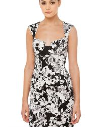 AKIRA - Good Genes Black White Floral Print Mini Dress - Lyst
