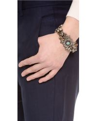 Deepa Gurnani - Metallic Floral Crystal Cuff Bracelet - Lyst