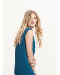 Violeta by Mango - Green Flowy Shift Dress - Lyst