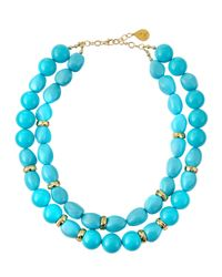 Devon Leigh - Blue Shell Pearl Double-Strand Necklace - Lyst