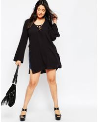 ASOS - Black Curve 70's Lace Front Tunic Top - Lyst