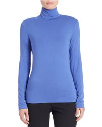Lord & Taylor | Blue Fitted Turtleneck | Lyst