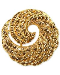 Jones New York | Metallic Gold-tone Crystal Swirl Box Pin | Lyst