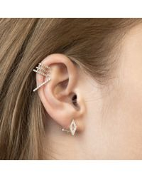Astrid & Miyu - Pink Diamond Ear Jacket In Rose Gold - Lyst