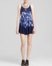 Free People | Blue Floral Voile Slip Dress | Lyst