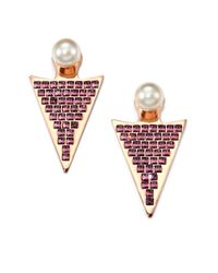 Ca&Lou | Metallic Stella Crystal & Faux Pearl Drop Earrings | Lyst