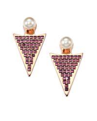 Ca&Lou | Metallic Stella Crystal & Faux Pearl Drop Earrings | Lyst