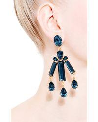 Oscar de la Renta - Blue Rectangular Stone Earrings - Lyst